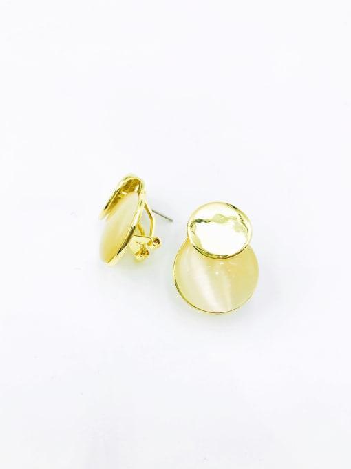 VIENNOIS Zinc Alloy Cats Eye White Round Minimalist Clip Earring
