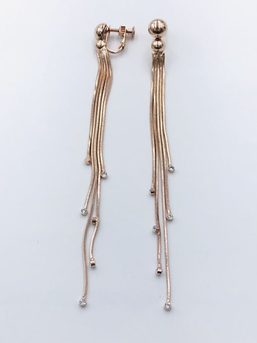 VIENNOIS Zinc Alloy Rhinestone White Tassel Trend Clip Earring