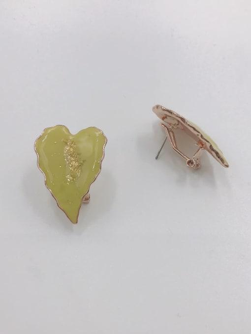 ROSE GOLD+GREEN Zinc Alloy Enamel Leaf Trend Clip Earring