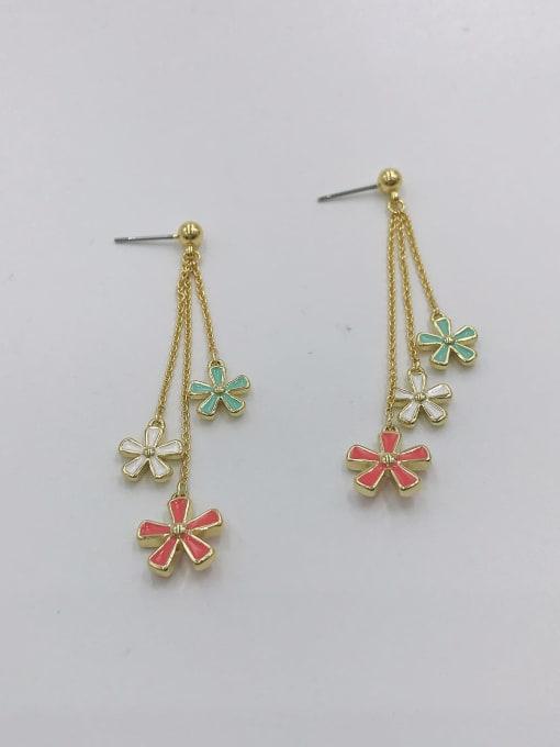 VIENNOIS Zinc Alloy Enamel Flower Trend Drop Earring 1