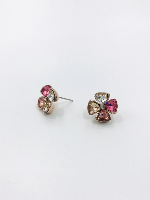 ROSE GOLD+CLEAR+RED+PINK+CHAMPAGNE Zinc Alloy Glass Stone Clear Flower Cute Stud Earring