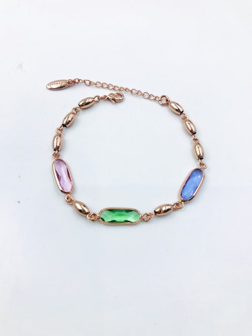 VIENNOIS Zinc Alloy Crystal Multi Color Oval Trend Bracelet 0