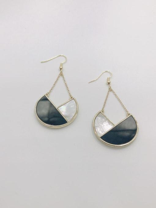 Gold Zinc Alloy Shell White Acrylic Geometric Statement Hook Earring