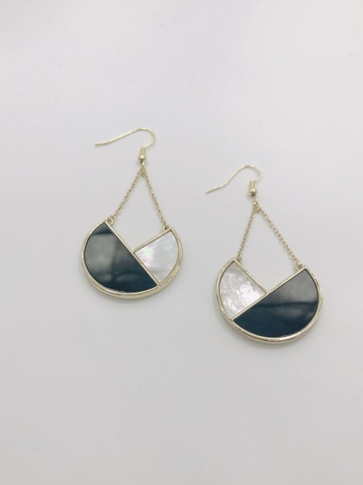 VIENNOIS Zinc Alloy Shell White Acrylic Geometric Statement Hook Earring 0
