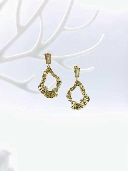 VIENNOIS Brass Cubic Zirconia White Irregular Trend Drop Earring