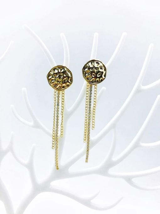 VIENNOIS Brass Cubic Zirconia White Irregular Trend Drop Earring 0