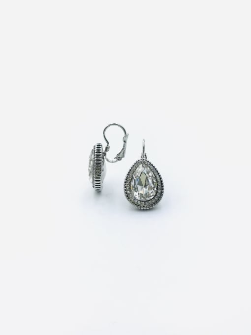 Clear Zinc Alloy Glass Stone Clear Water Drop Classic Huggie Earring