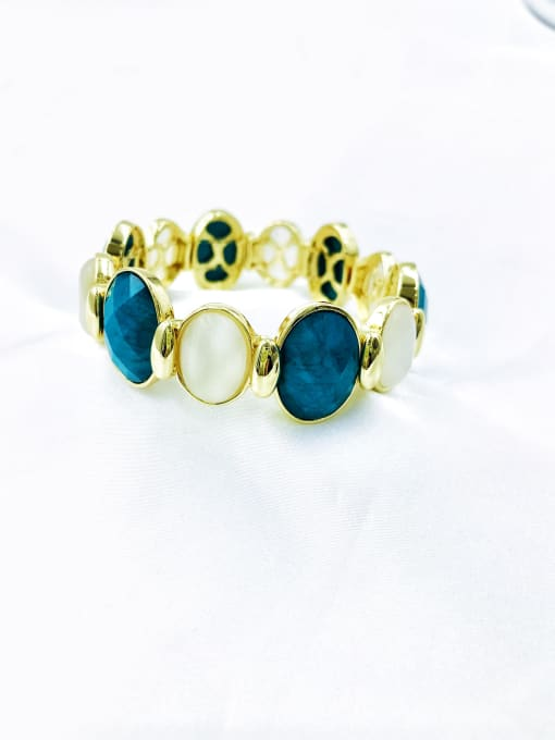 gold+blue resin+white cat eye stone Zinc Alloy Resin Brown Oval Trend Band Bangle
