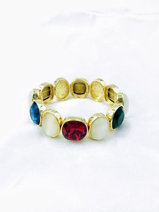 VIENNOIS Zinc Alloy Glass Stone Multi Color Geometric Luxury Band Bangle