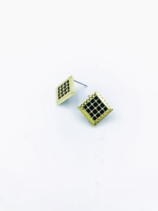 Gold Brass Imitation Pearl White Acrylic Square Dainty Stud Earring