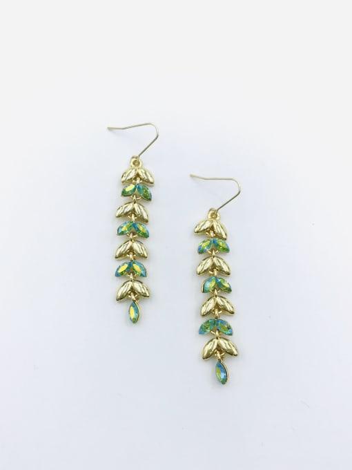 Gold Zinc Alloy Swarovski Crystal Multi Color Leaf Dainty Hook Earring