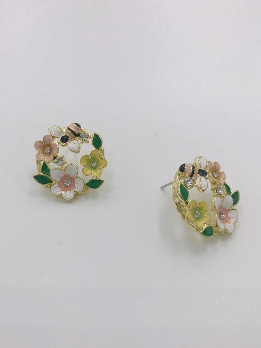 GOLD+WHITE+YELLOW+PINK+GREEN Zinc Alloy Rhinestone White Enamel Leaf Dainty Stud Earring