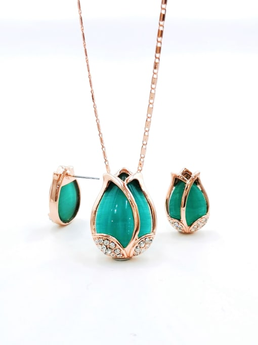 Green Classic Flower Zinc Alloy Cats Eye White Earring and Necklace Set
