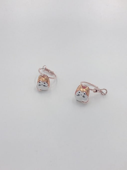VIENNOIS Zinc Alloy Enamel Cat Cute Huggie Earring
