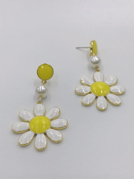 GOLD+YELLOW+WHITE Zinc Alloy Imitation Pearl White Enamel Flower Trend Drop Earring