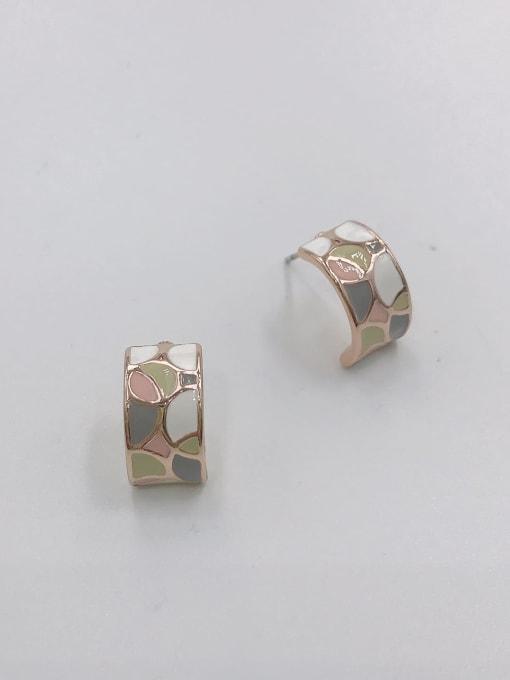 ROSE GOLD+PINK+GREY+GREEN Zinc Alloy Enamel Geometric Minimalist Stud Earring