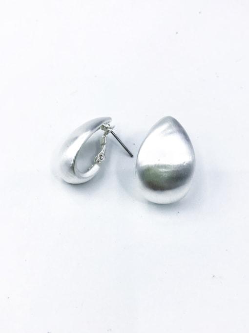 Silver Zinc Alloy Water Drop Minimalist Huggie Earring