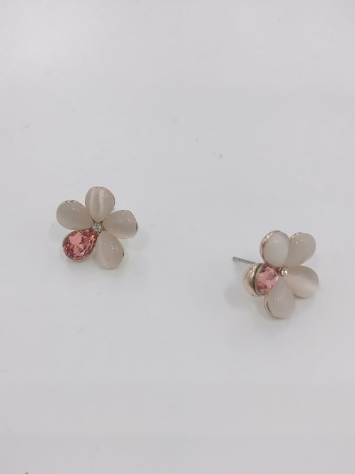 ROSE GOLD+RED+WHITE Zinc Alloy Cats Eye White Flower Dainty Stud Earring