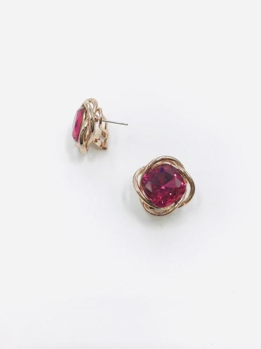Red Zinc Alloy Glass Stone Red Irregular Minimalist Clip Earring