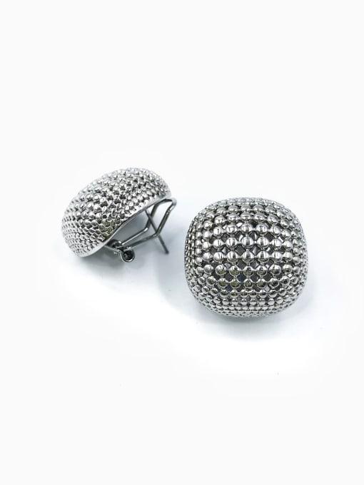 Silver Brass Square Minimalist Clip Earring