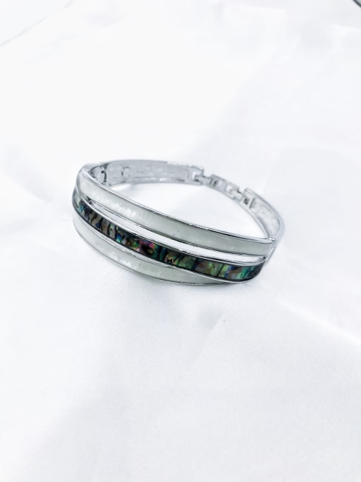 Silver Zinc Alloy Shell Multi Color Minimalist Band Bangle