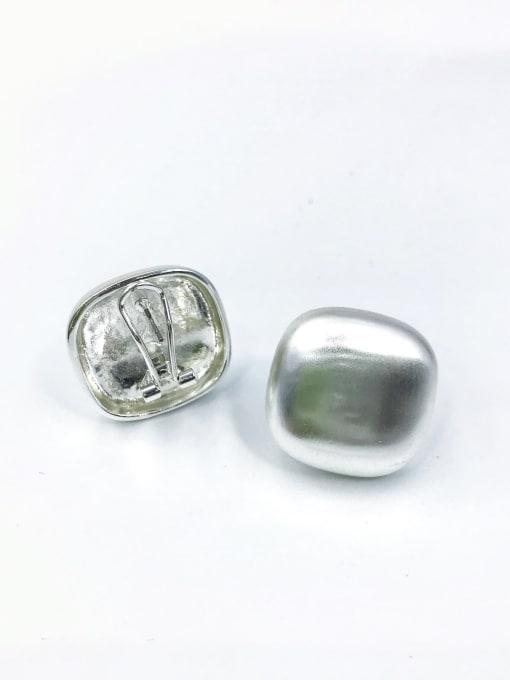Silver Zinc Alloy Square Minimalist Clip Earring