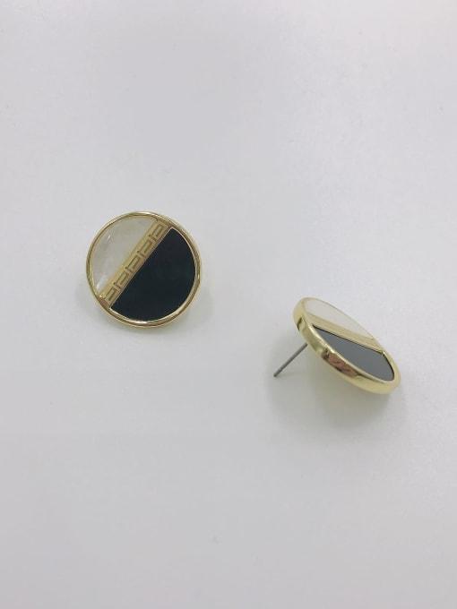 Gold Zinc Alloy Acrylic Round Classic Stud Earring