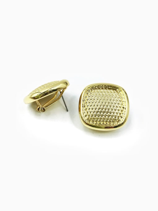 Gold Zinc Alloy Square Minimalist Clip Earring