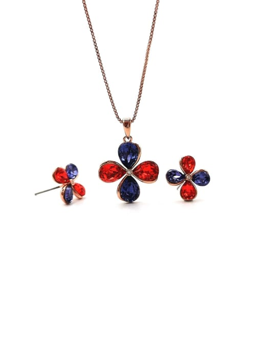 VIENNOIS Flower Brass Swarovski Crystal Multi Color Earring and Necklace Set