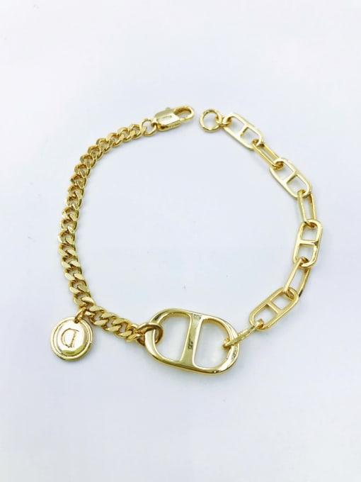 VIENNOIS Brass Letter Minimalist Link Bracelet