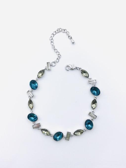 Silver Brass Glass Stone Multi Color Geometric Trend Bracelet
