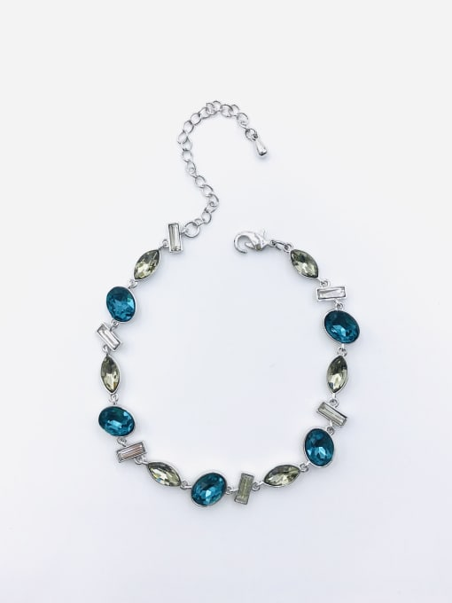 VIENNOIS Brass Glass Stone Multi Color Geometric Trend Bracelet