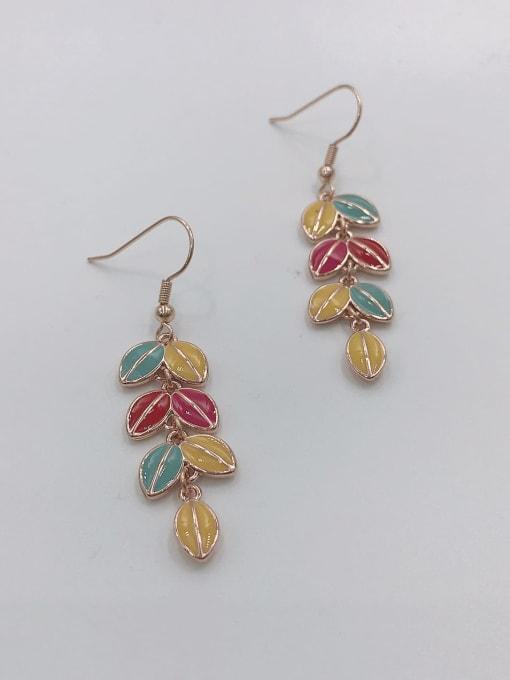 rOSE GOLD+BLUE+YELLOW+RED Zinc Alloy Enamel Leaf Dainty Hook Earring