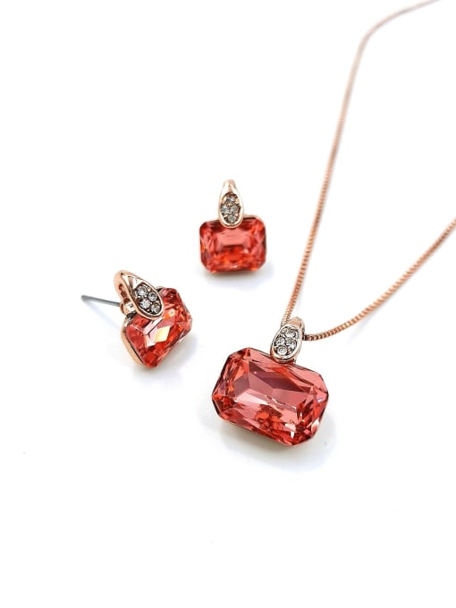 VIENNOIS Minimalist Geometric Zinc Alloy Glass Stone Red Earring and Necklace Set 0