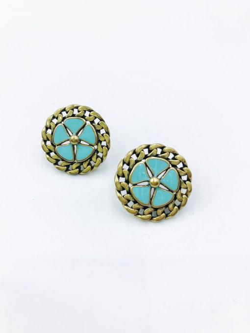 antique bronze plated+blue enamel Brass Enamel Star Vintage Stud Earring