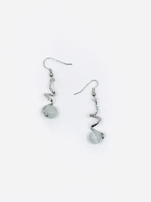 Silver Zinc Alloy Cats Eye White Irregular Trend Hook Earring
