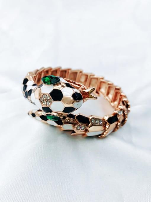 VIENNOIS Zinc Alloy Glass Stone Green Enamel Snake Statement Band Bangle