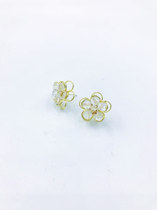 VIENNOIS Brass Crystal Clear Flower Trend Stud Earring