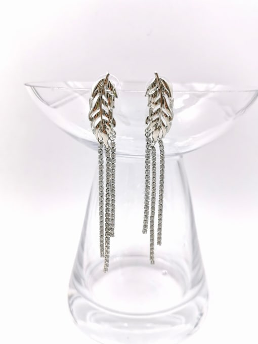 Silver Zinc Alloy Cubic Zirconia Clear Tassel Trend Drop Earring