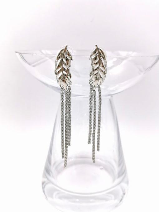 VIENNOIS Zinc Alloy Cubic Zirconia Clear Tassel Trend Drop Earring 1