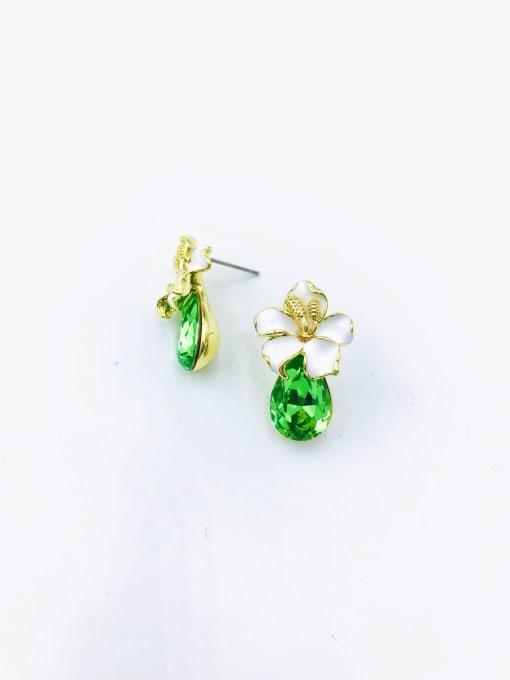 gold+green glass Zinc Alloy Glass Stone Red Enamel Water Drop Dainty Stud Earring