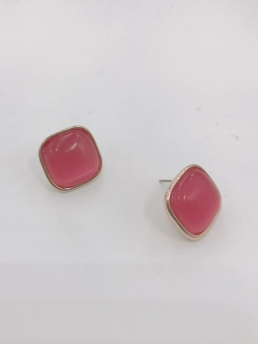 VIENNOIS Zinc Alloy Cats Eye Red Square Minimalist Stud Earring 0