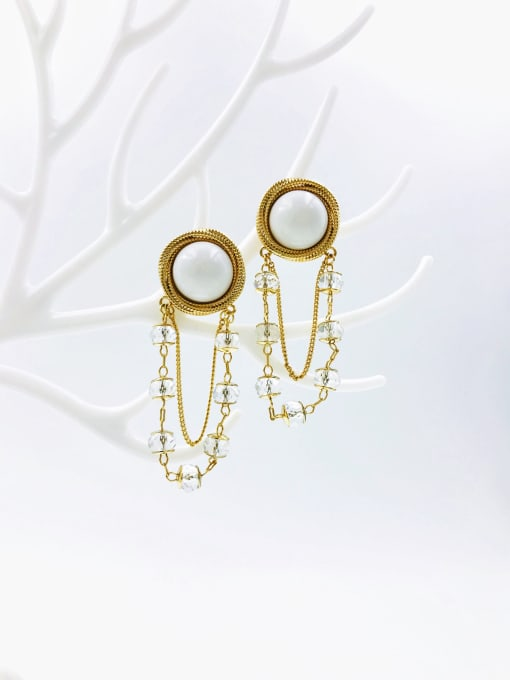 VIENNOIS Brass Crystal White Plastic Tassel Trend Drop Earring 1