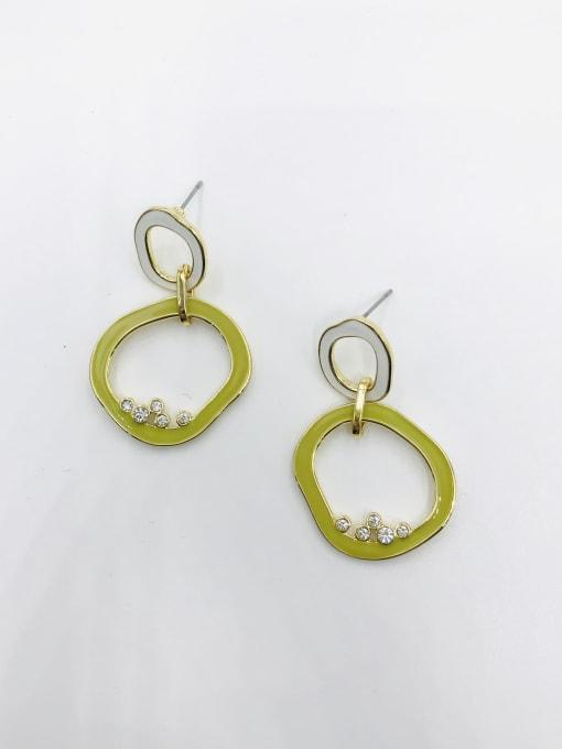 GOLD+WHITE+GREEN Zinc Alloy Rhinestone White Enamel Irregular Minimalist Drop Earring