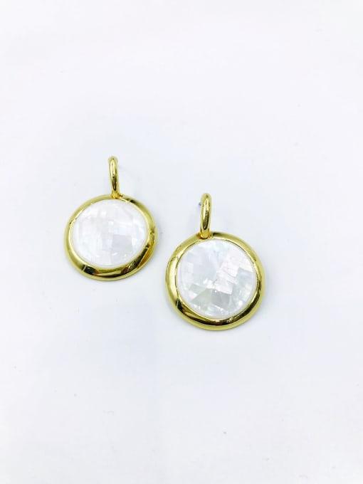 Gold Zinc Alloy Shell White Round Minimalist Drop Earring