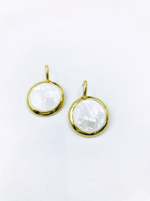 VIENNOIS Zinc Alloy Shell White Round Minimalist Drop Earring