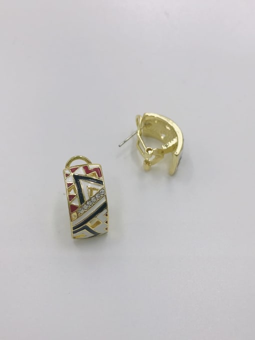 VIENNOIS Zinc Alloy Rhinestone White Enamel Geometric Trend Clip Earring 1