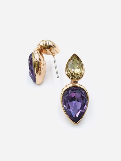VIENNOIS Brass Glass Stone Purple Water Drop Minimalist Drop Earring