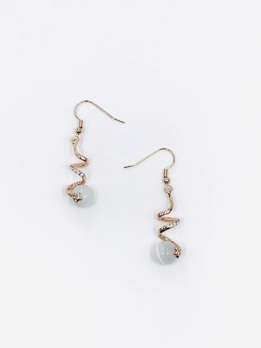 VIENNOIS Zinc Alloy Cats Eye White Irregular Trend Hook Earring 2