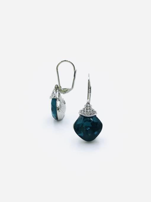 Blue Zinc Alloy Glass Stone Red Square Minimalist Huggie Earring